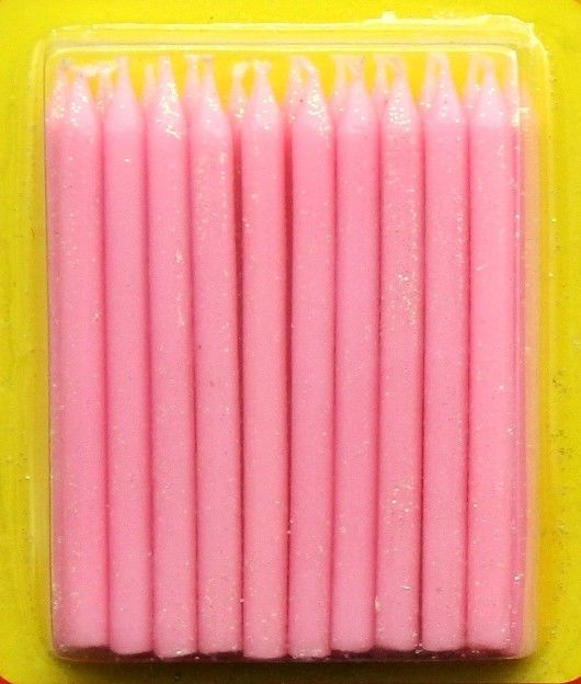 Light Pink Color Glitter Birthday Candles 20pcs For Girls Party / Valentine's Day